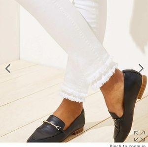 LOFT modern skinny ankle jeans double frayed